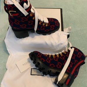 Red & Blue Gucci Wool Boots